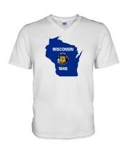 State Flag of Wisconsin V-Neck T-Shirt thumbnail