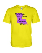 God Made - Jesus Saved - Louisiana Raised V-Neck T-Shirt thumbnail