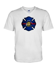 Wisconsin - Thin Red Line V-Neck T-Shirt thumbnail