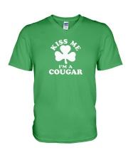 Kiss Me I'm a Cougar V-Neck T-Shirt thumbnail