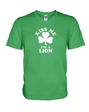 Kiss Me I'm a Lion V-Neck T-Shirt thumbnail