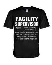 HOODIE FACILITY SUPERVISOR V-Neck T-Shirt thumbnail