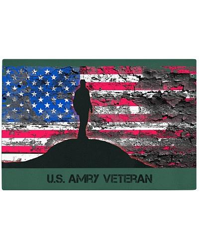 US Army Veteran Silhouette Against US Flag