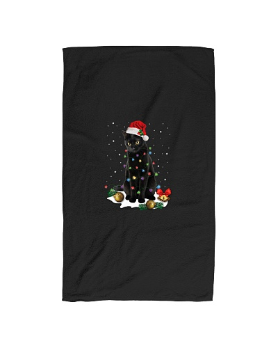 Black Cat Santa Christmas Lights Funny Cat