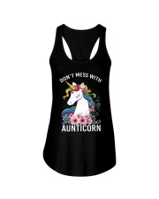 DON'T MESS WITH AUNTICORN YOU'LL GET SHANKED Ladies Flowy Tank thumbnail