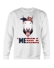 Bull-Terrier--With-Bandana-USA-FLAG Crewneck Sweatshirt thumbnail