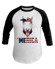 Bull-Terrier--With-Bandana-USA-FLAG Baseball Tee thumbnail