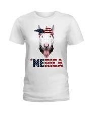 Bull-Terrier--With-Bandana-USA-FLAG Ladies T-Shirt thumbnail