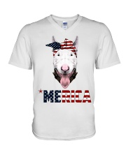 Bull-Terrier--With-Bandana-USA-FLAG V-Neck T-Shirt thumbnail