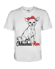 Chihuahua Mom With Red Bandana V-Neck T-Shirt tile