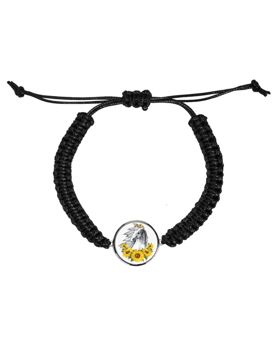 Horse Sunflower Cord Circle Bracelet