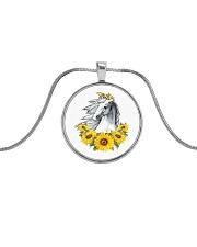 Horse Sunflower Metallic Circle Necklace thumbnail
