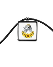 Horse Sunflower Cord Rectangle Necklace thumbnail