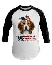 Beagle-With-Bandana-USA-FLAG Baseball Tee thumbnail