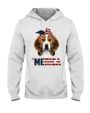 Beagle-With-Bandana-USA-FLAG Hooded Sweatshirt thumbnail