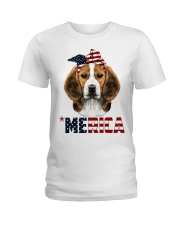 Beagle-With-Bandana-USA-FLAG Ladies T-Shirt thumbnail