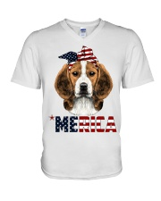 Beagle-With-Bandana-USA-FLAG V-Neck T-Shirt thumbnail