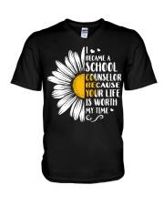 SCHOOL COUNSELOR DAISY V-Neck T-Shirt thumbnail