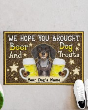 """Custom Dachshund Brought Beer And Dog Treats Doormat 22.5"""" x 15""""  aos-doormat-22-5x15-lifestyle-front-06"""
