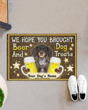 """Custom Dachshund Brought Beer And Dog Treats Doormat 22.5"""" x 15""""  aos-doormat-22-5x15-lifestyle-front-07"""