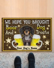 """Custom Dachshund Brought Beer And Dog Treats Doormat 22.5"""" x 15""""  aos-doormat-22-5x15-lifestyle-front-10"""