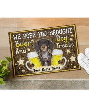 """Custom Dachshund Brought Beer And Dog Treats Doormat 22.5"""" x 15""""  aos-doormat-22-5x15-lifestyle-front-11"""