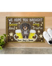 """Custom Dachshund Brought Beer And Dog Treats Doormat 22.5"""" x 15""""  aos-doormat-22-5x15-lifestyle-front-12"""