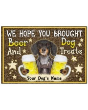 """Custom Dachshund Brought Beer And Dog Treats Doormat 22.5"""" x 15""""  front"""