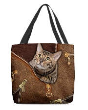 Cat Leather like All-over Tote back