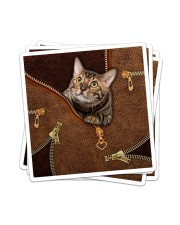 Cat Leather like Sticker - 4 pack (Vertical) thumbnail