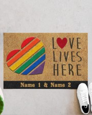 "Custom LGBT Love Lives Here Personalized Name Doormat 22.5"" x 15""  aos-doormat-22-5x15-lifestyle-front-06"