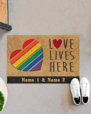"Custom LGBT Love Lives Here Personalized Name Doormat 22.5"" x 15""  aos-doormat-22-5x15-lifestyle-front-07"