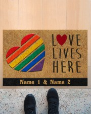 "Custom LGBT Love Lives Here Personalized Name Doormat 22.5"" x 15""  aos-doormat-22-5x15-lifestyle-front-10"