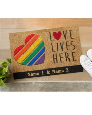 "Custom LGBT Love Lives Here Personalized Name Doormat 22.5"" x 15""  aos-doormat-22-5x15-lifestyle-front-11"
