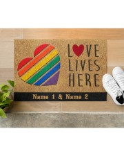 "Custom LGBT Love Lives Here Personalized Name Doormat 22.5"" x 15""  aos-doormat-22-5x15-lifestyle-front-12"