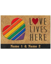 "Custom LGBT Love Lives Here Personalized Name Doormat 22.5"" x 15""  front"