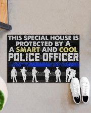 """Police This Special House Is Protected By A Police Doormat 22.5"""" x 15""""  aos-doormat-22-5x15-lifestyle-front-07"""