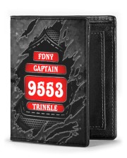 Custom Firefighter Department Rank Number Name Men's Leather Wallet front