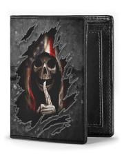 Skull Tattered Flag Men's Leather Wallet front