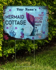 Custom Name Mermaid Cottage Salty By Choice 24x18 Yard Sign aos-yard-sign-24x18-lifestyle-front-05
