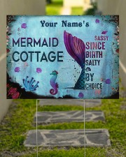 Custom Name Mermaid Cottage Salty By Choice 24x18 Yard Sign aos-yard-sign-24x18-lifestyle-front-07