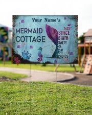 Custom Name Mermaid Cottage Salty By Choice 24x18 Yard Sign aos-yard-sign-24x18-lifestyle-front-18