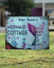 Custom Name Mermaid Cottage Salty By Choice 24x18 Yard Sign aos-yard-sign-24x18-lifestyle-front-22