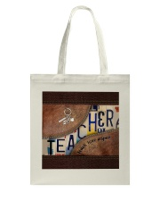 Teacher Teach Love Inspire Leather Pattern Print Tote Bag thumbnail