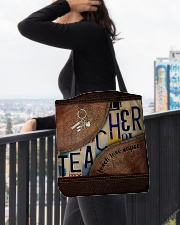 Teacher Teach Love Inspire Leather Pattern Print All-over Tote aos-all-over-tote-lifestyle-front-05