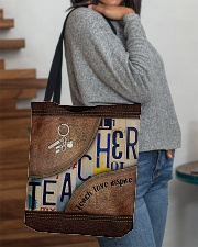 Teacher Teach Love Inspire Leather Pattern Print All-over Tote aos-all-over-tote-lifestyle-front-09
