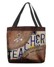Teacher Teach Love Inspire Leather Pattern Print All-over Tote front