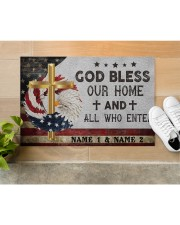 """Custom Names God Bless Our Home And All Doormat 22.5"""" x 15""""  aos-doormat-22-5x15-lifestyle-front-12"""