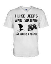 I-like-jeeps-and-skiing-and-maybe-3-people V-Neck T-Shirt tile