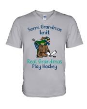 Some-Grandmas-knit-Real-Grandmas-Play-Hockey V-Neck T-Shirt tile